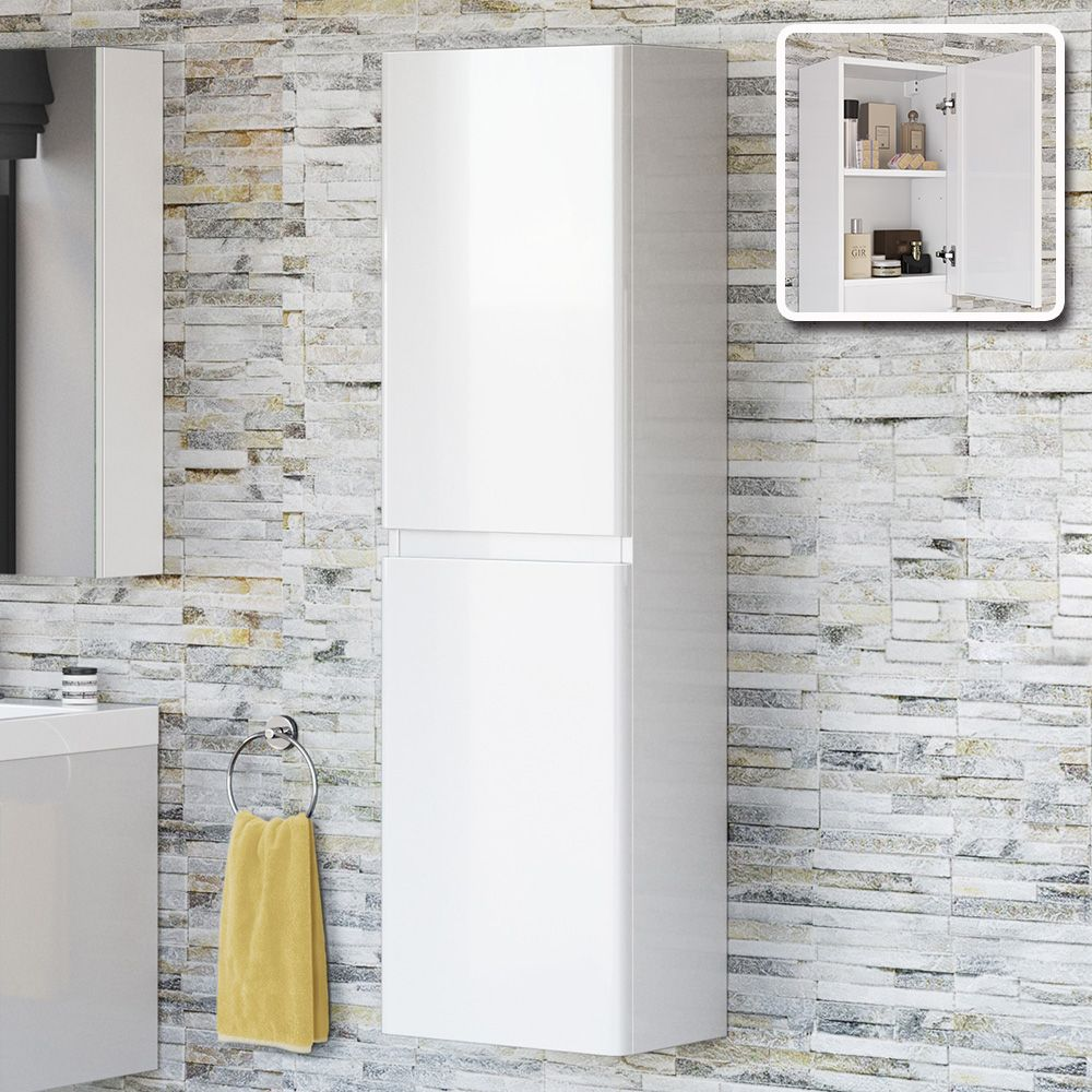 White Gloss Tall Bathroom Wall Cabinet | www.redglobalmx.org