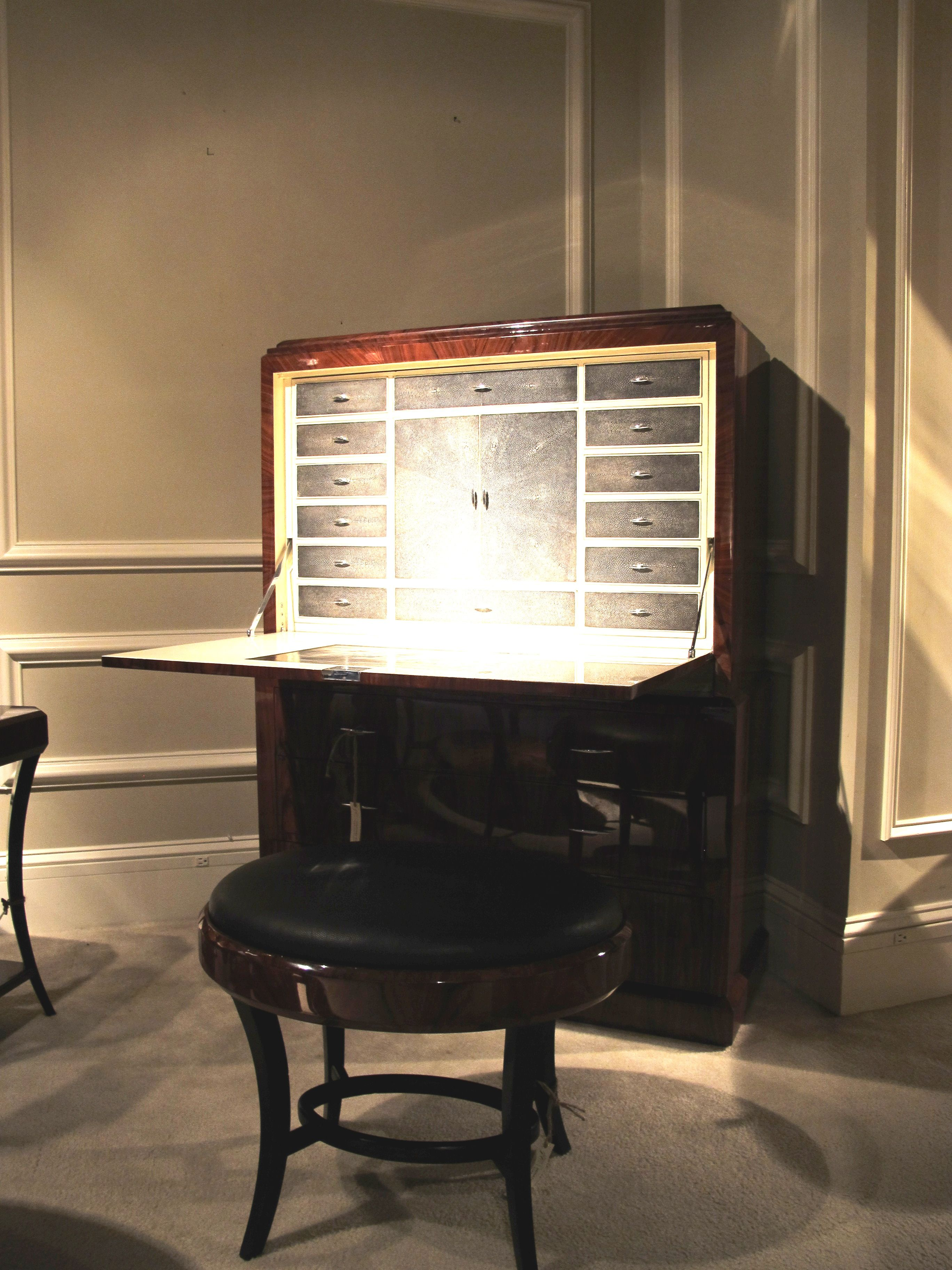 This photo doesn't do the Art Deco Rosewood Secretaire justice.  Jonathan Charles' latest introduction opens to a beautifully fitted interior of shagreen, (being seen in many ways, by-the-way), and the finishing is divine.  Very sexy design!  #HPMkt 200 North Hamilton