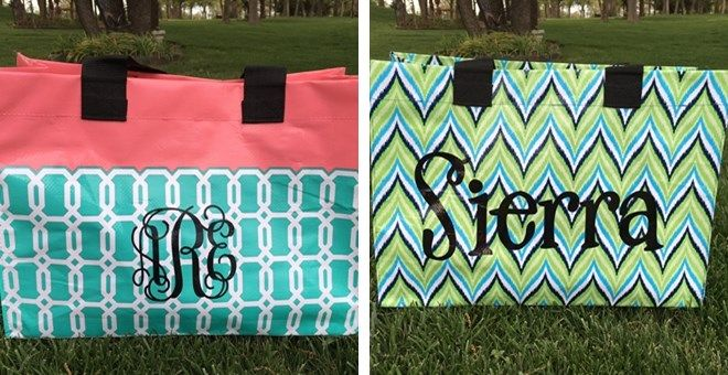 Not just for on-the-go, these fun department totes are great for summer trips to the pool, beach or shopping.  7 bright fun colors to choose from personalized just for you with premium indoor/outdoor vinyl.
