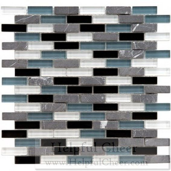 SomerTile 12x12-in Reflections Subway 5 8x2-in Charcoal Glass Stone Mosaic Tile Pack of 10 G- d