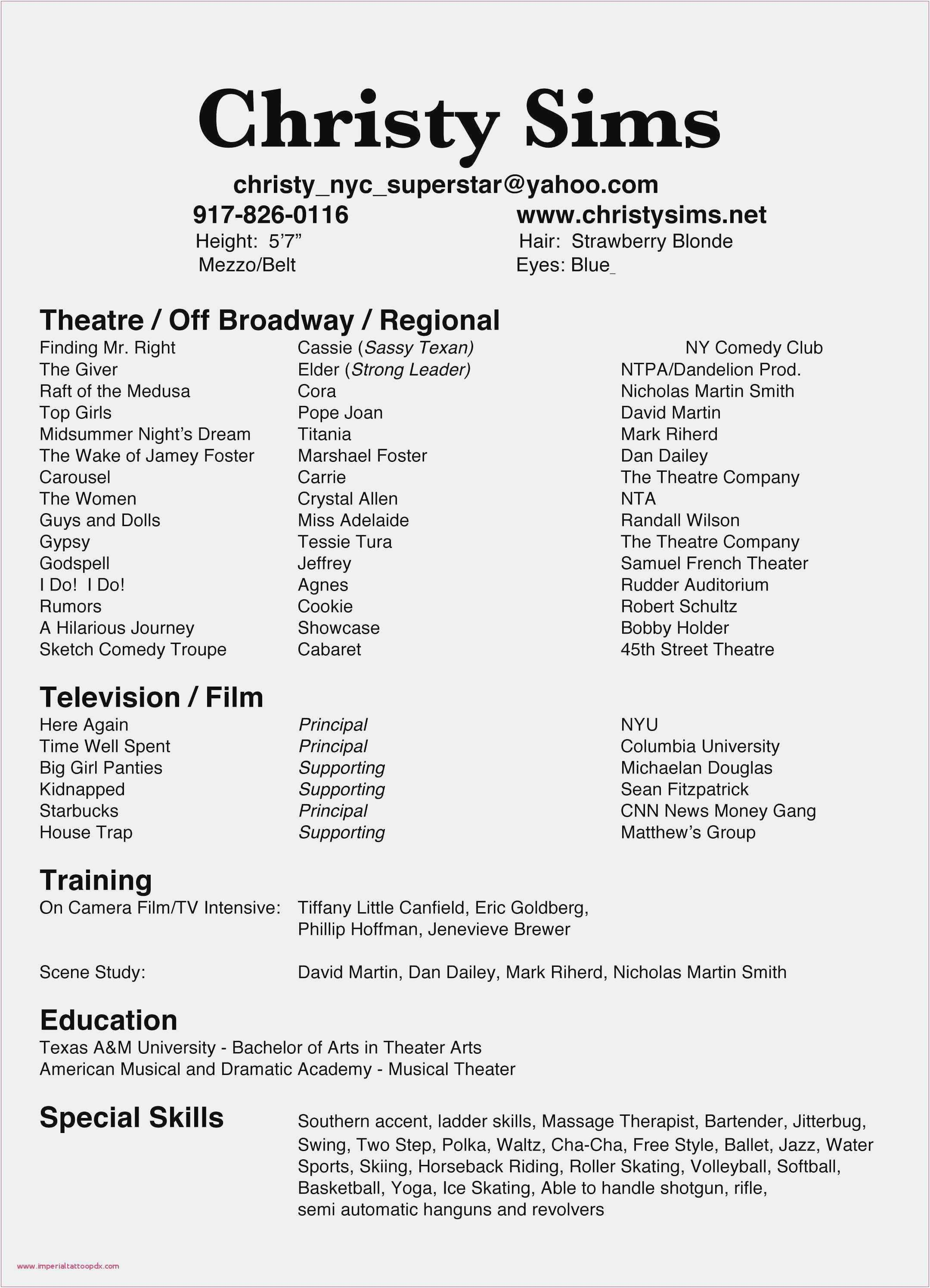 32 Unique Resume With The Accent In 2020 With Images Acting
