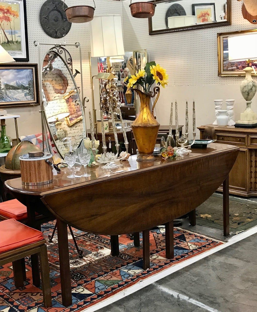 Mid Century Oval Drop Leaf Dining Room Table On Sale Solid Wood 78