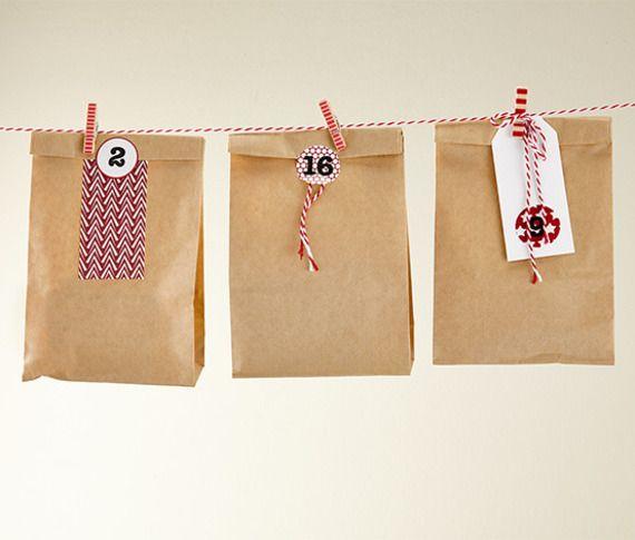 Lot De 24 Pochettes Cadeau Papier Kraft Diy Calendrier De L