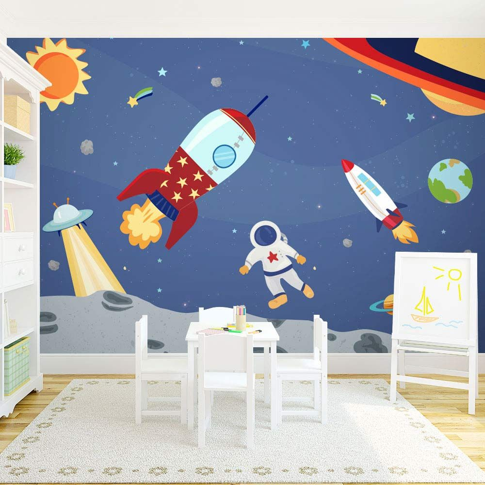 Space Rocket Wallpaper Outer Space Wall Mural For Kids Kids Room Murals Kids Wall Murals Boys Room Mural