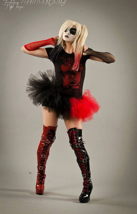Harley quinn adult tutu mini micro black red skirt Adult halloween ...