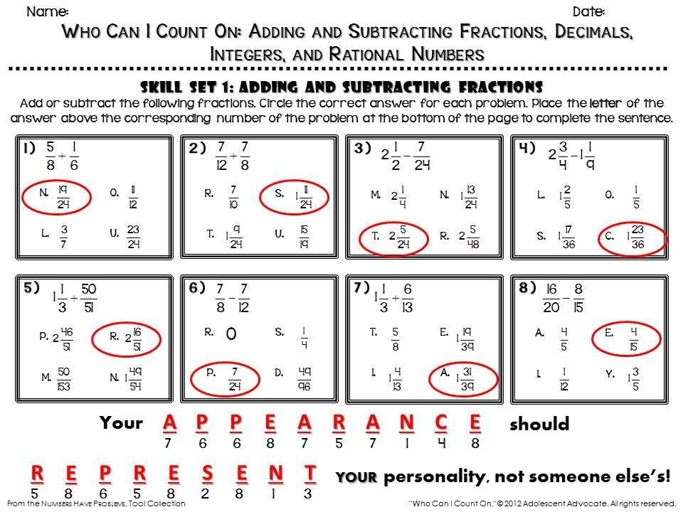 Fun Math Worksheet Answer Key Sample From Adding And