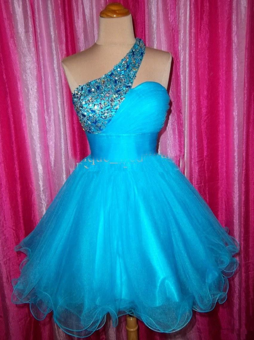 New style one shoulder beads sequins tulle zip aline short cocktail