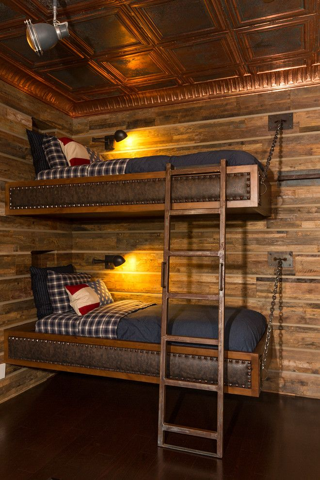 Wall Mounted Bunk Beds With Wooden Frame With Leather
