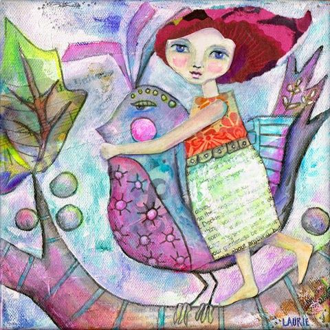 Colorful Girl and Bird Mixed Media Art