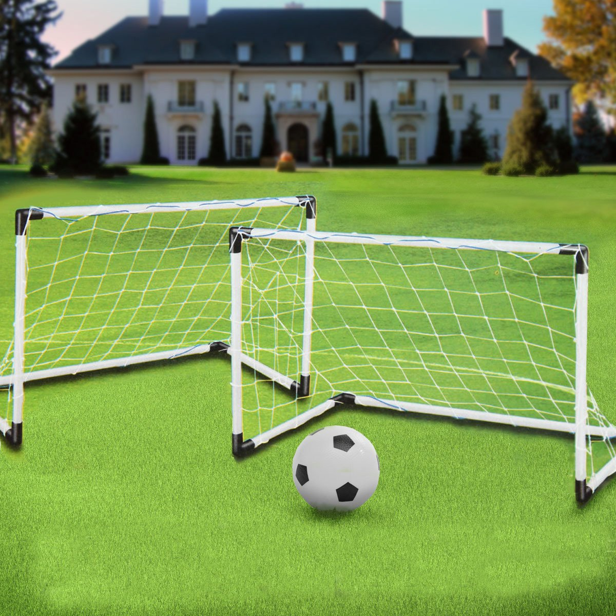 2 Mini Set Football Soccer Goal Post Net Ball Pump Kids Outdoor Sport Training Soccer Goal Soccer Goal Post Soccer