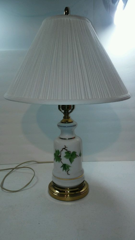 Vintage Hand Painted Glass Brass Base Table Lamp Leaf Design W Shade Table Lamp Lamp Glass
