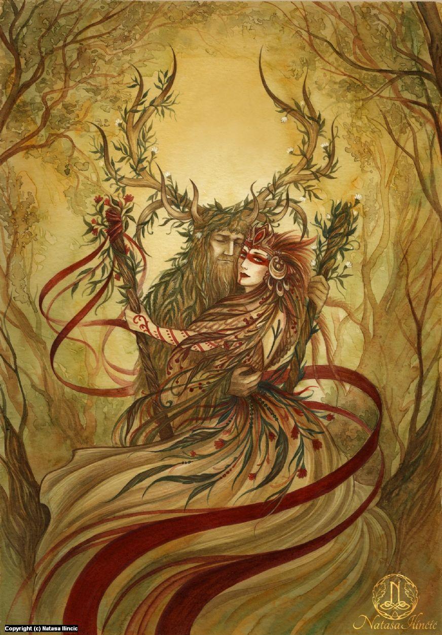 Beltane Artwork by Natasa Ilincic   Forest spirits, dryads, treants