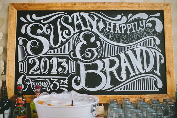chalk wedding sign, photo by Steven Michael Photography http://ruffledblog.com/kansas-city-loft-wedding #weddingideas #signage
