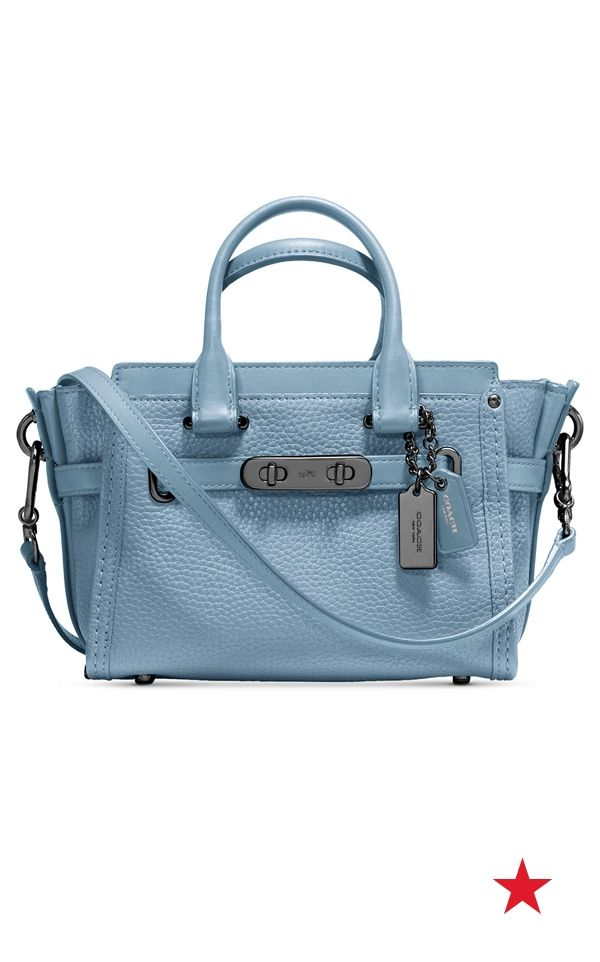 dd7b0caa281c Coach Swagger 20 in pebble leather — the pastel blue hue of this cute tote  is perfect for Spring. Plus