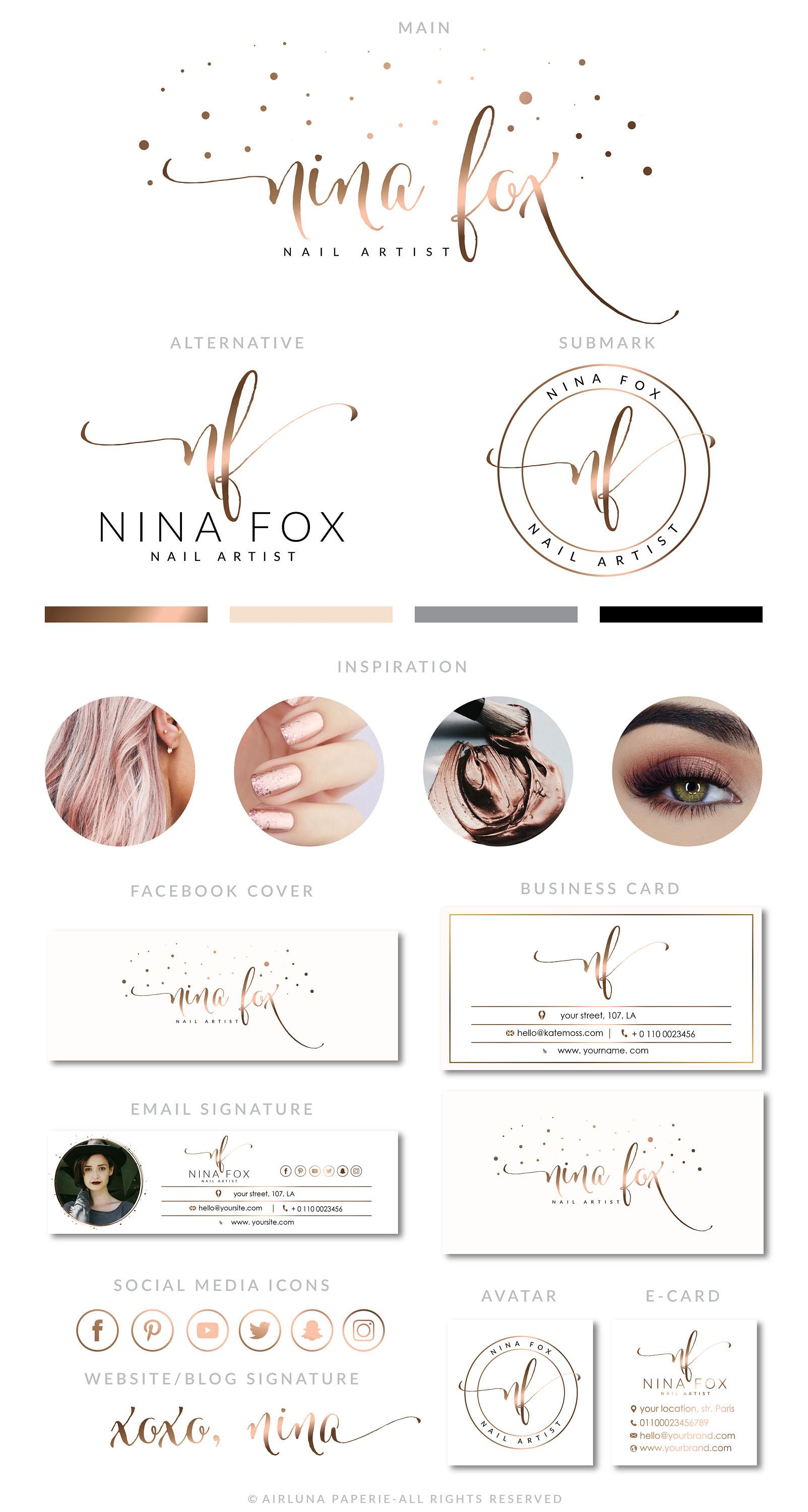 Rose Gold Nail Logo Design, Nail Extension Logo, Makeup