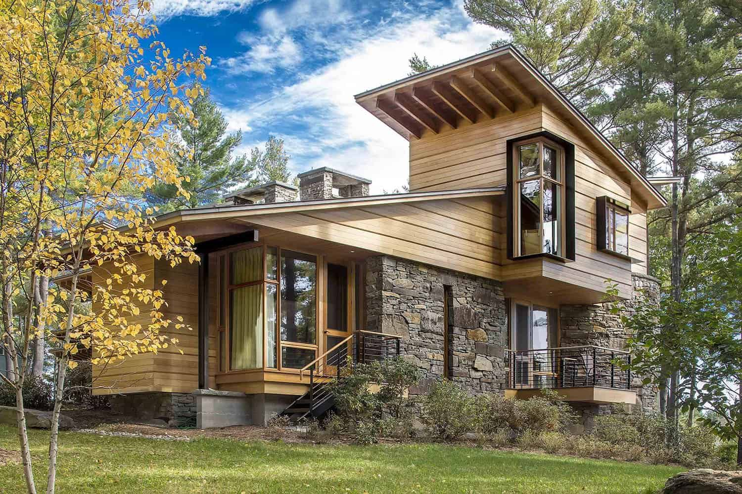 Rustic Modern House Organically Forms Into Hillside In The Berkshires Modern House Exterior House Exterior Facade House