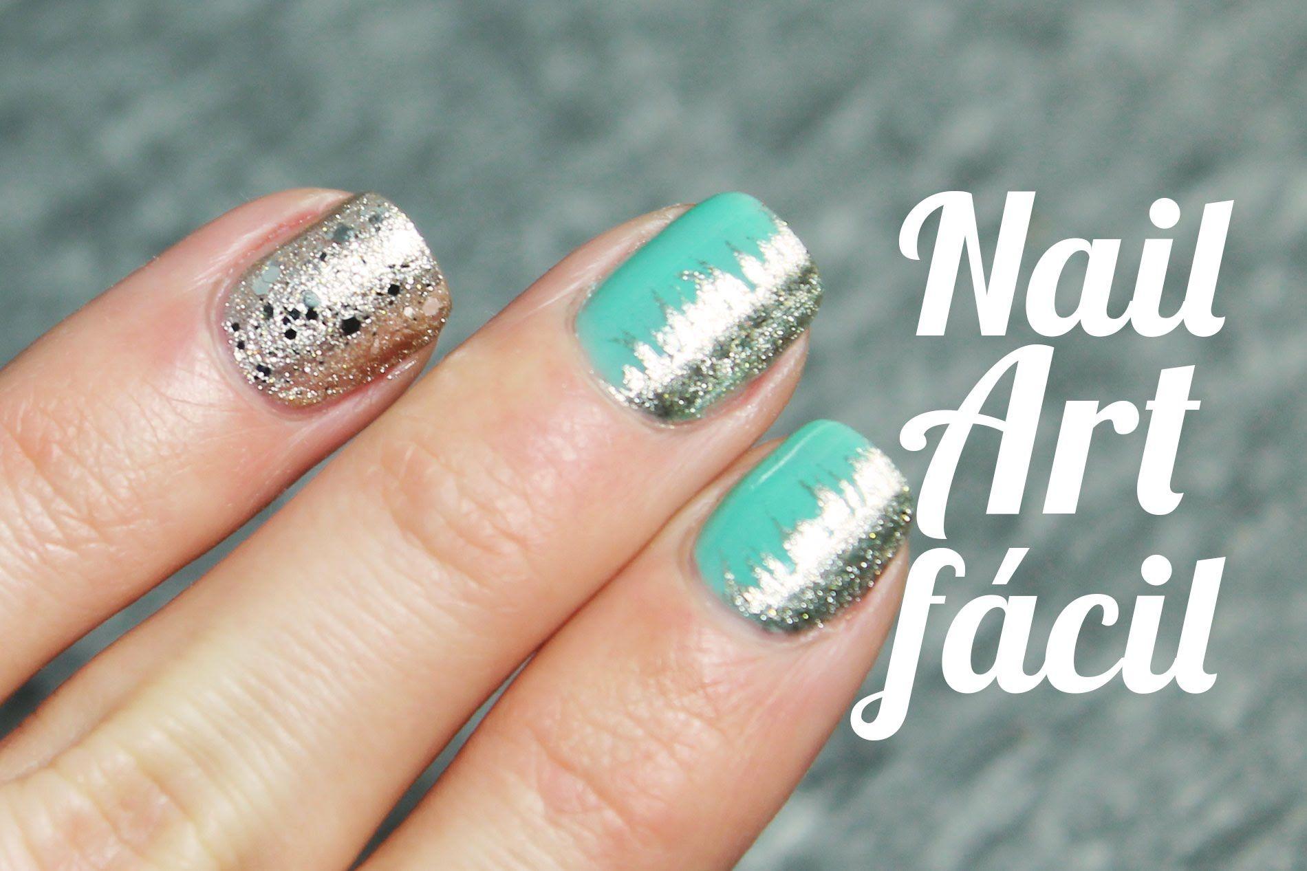 Un diseño de uñas verde menta y plateado super fácil - http://xn ...