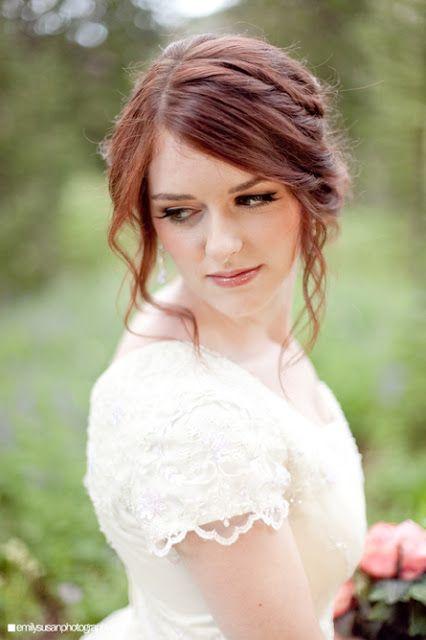 wedding hair - red hair, up do