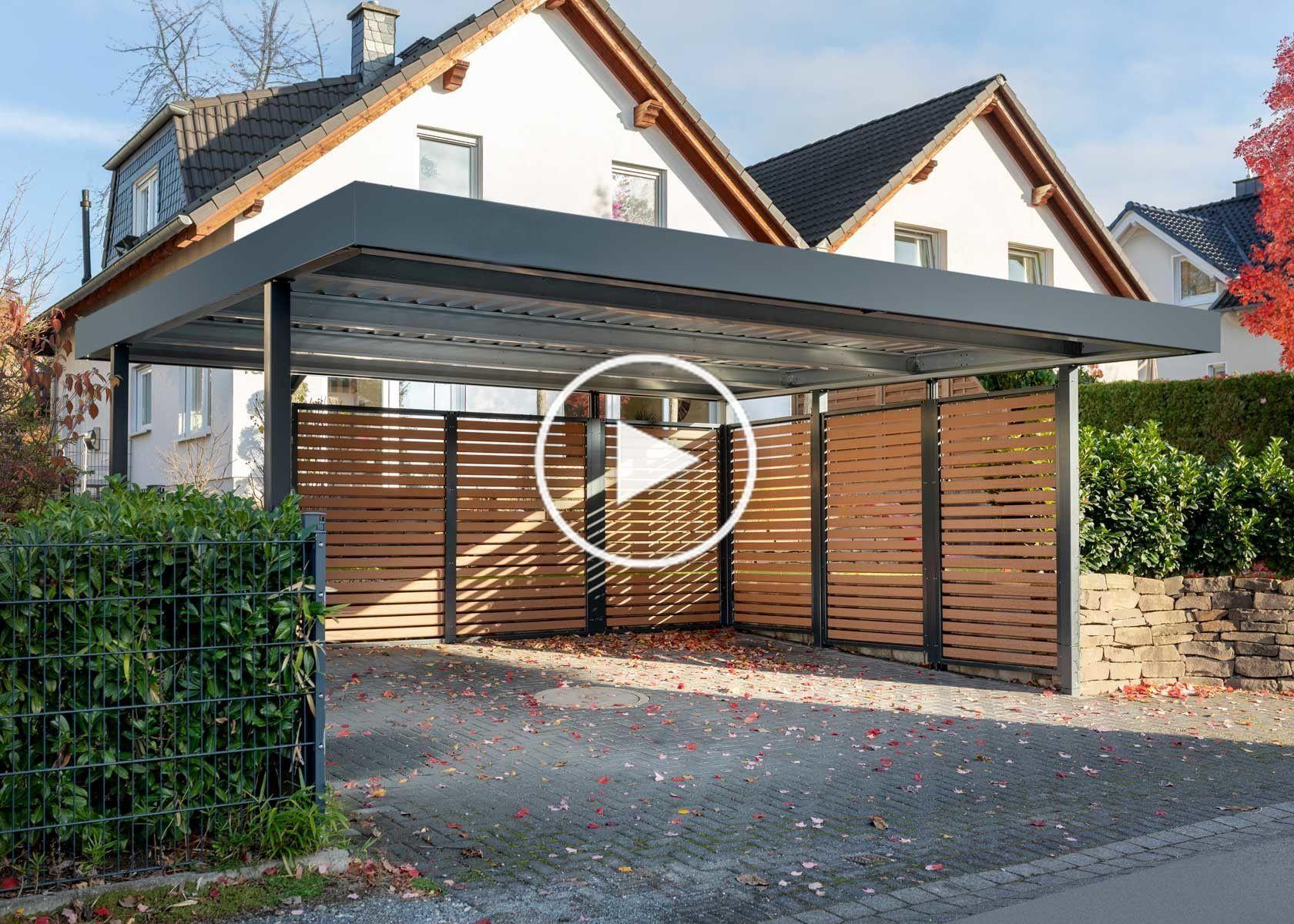 Myport Deux Abris Pour Voiture Avec Panneaux Muraux En Bois In 2020 Double Carport Garage Door Design Carport Designs