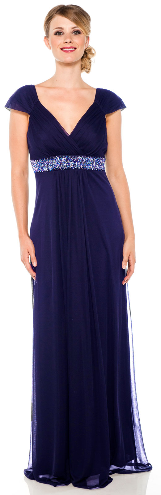 Mom cap sleeved long formal dress with beaded trim under the