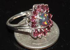Ethiopian Black Opal & Garnet Ring Mounted In 925 Sterling 3.30 ct Size 7.25