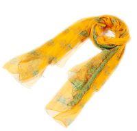 Gold print tree desigual scarf autumn summer 100% mulberry silk georgette foulard long silk scarves hijab silk scarf 177*105cm