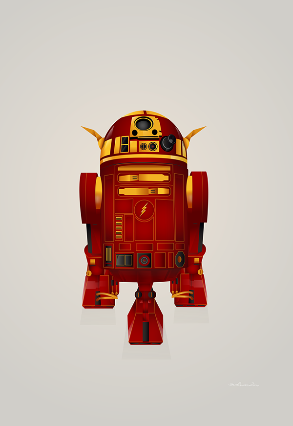Delightful Illustrations Of R2-D2 'Dressed' As Popular Comicbook Superheroes - DesignTAXI.com