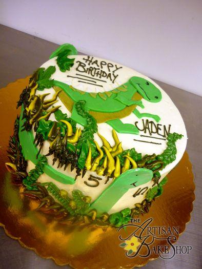 Dinosaur Flat Art Round Buttercream Cake