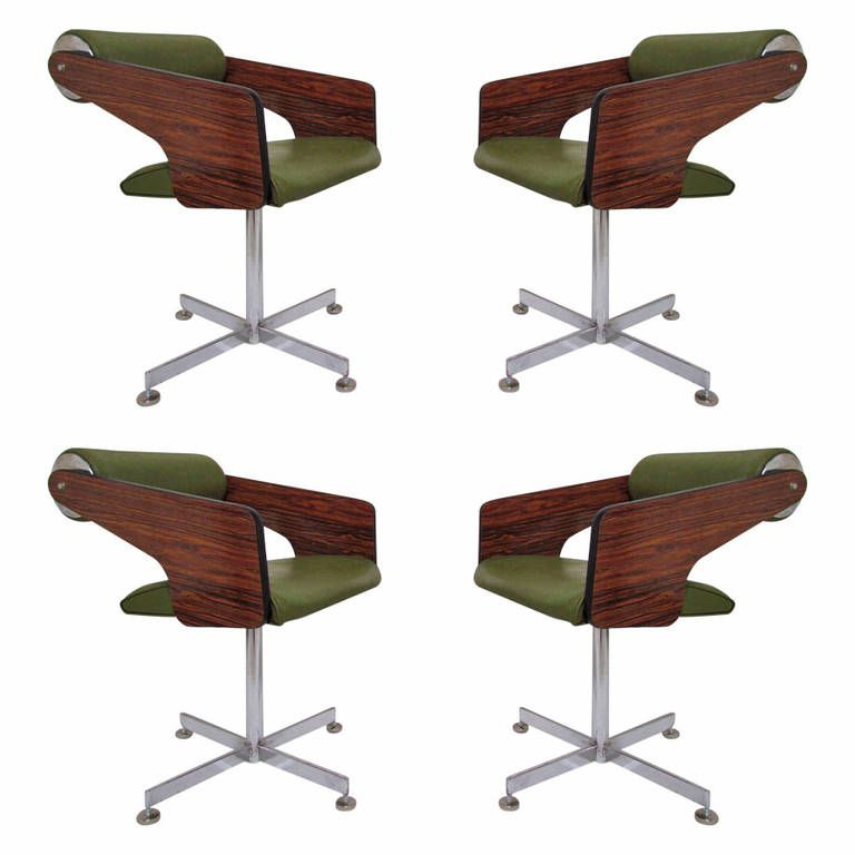 Set Of Four Space Age Swivel Dining Chairsluigi Tiengo Circa Adorable Leather Swivel Dining Room Chairs Design Ideas