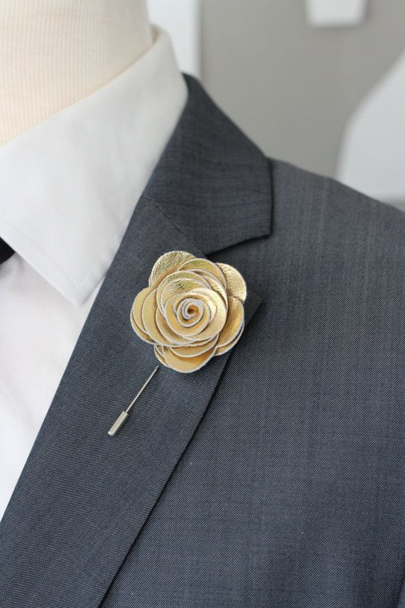 Gold Flower Lapel Pin Wedding Boutonniere By Nevesticaleather Rose