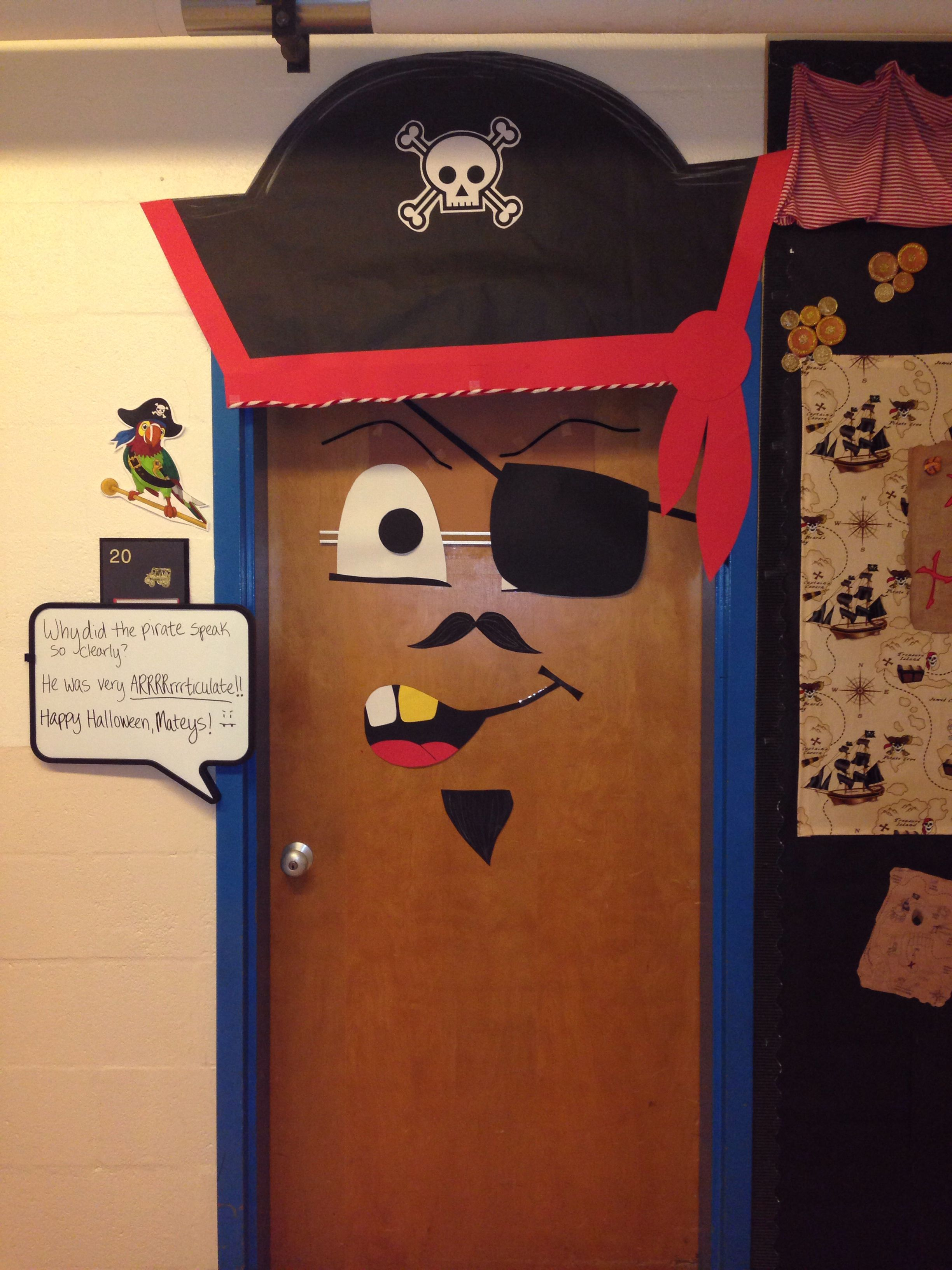 My classroom door, decorated as a pirate for Halloween ...