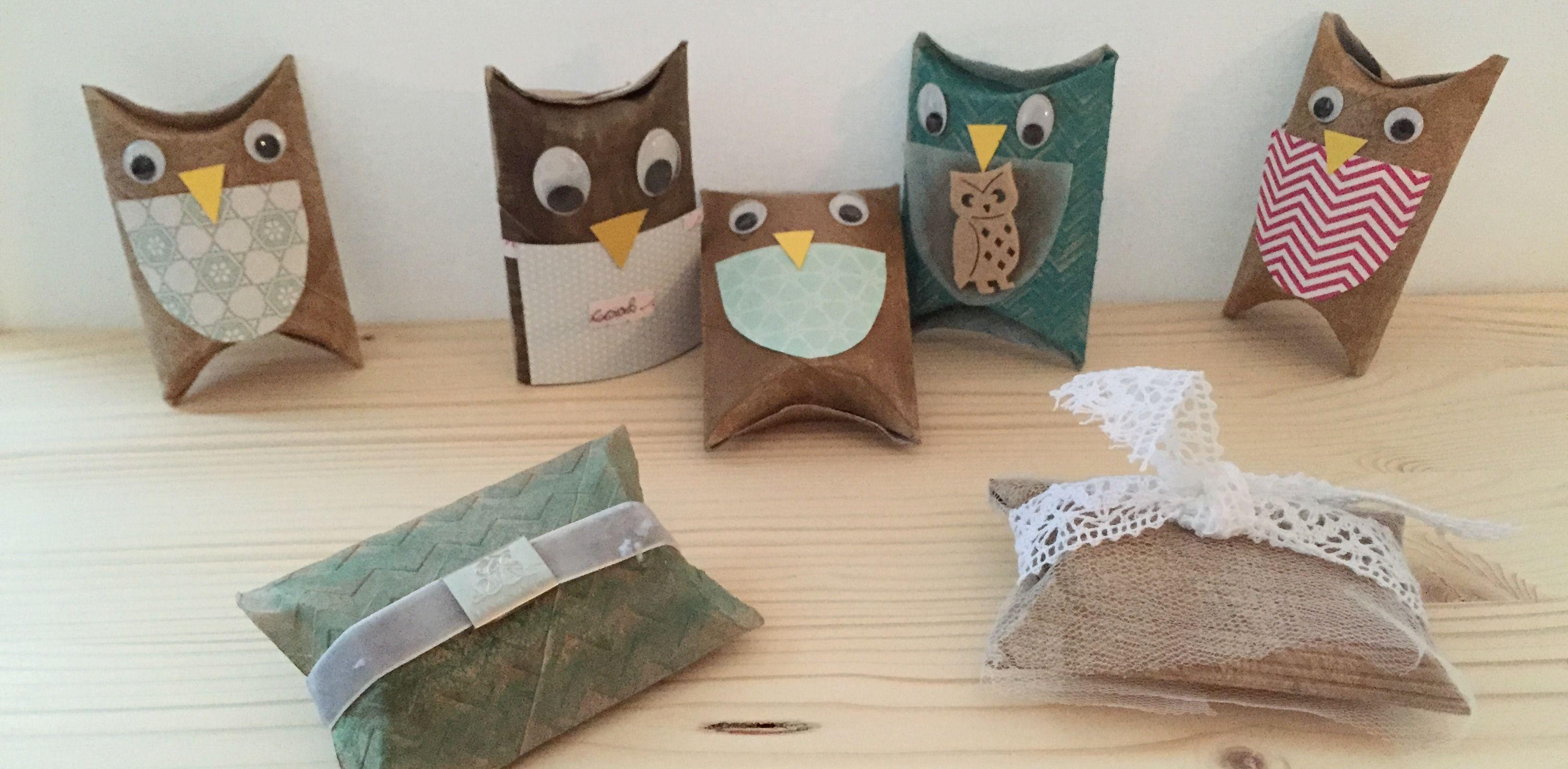 Pillow Box Basteln basteln mit kindern eulen aus klopapierrollen