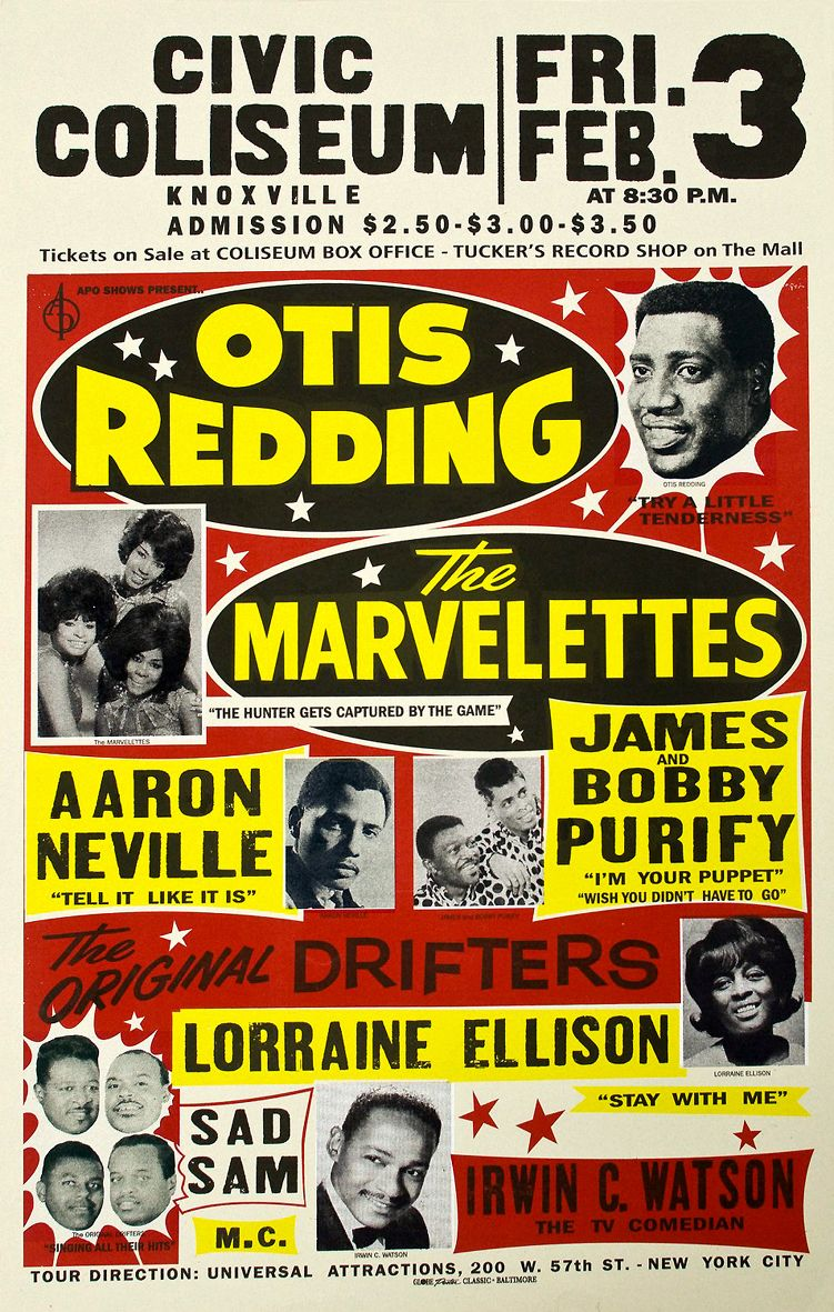 Classic 1960s Soul Concert Poster Knoxville Tn With Otis Redding The Marvelettes Aaron Nevil Vintage Concert Posters Concert Posters Music Concert Posters