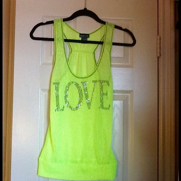 Neon Love Tank It is neon green. It is see through. It says love in sparkly bedazzled letters. The brand is wet seal. Wet Seal Tops Tank Tops