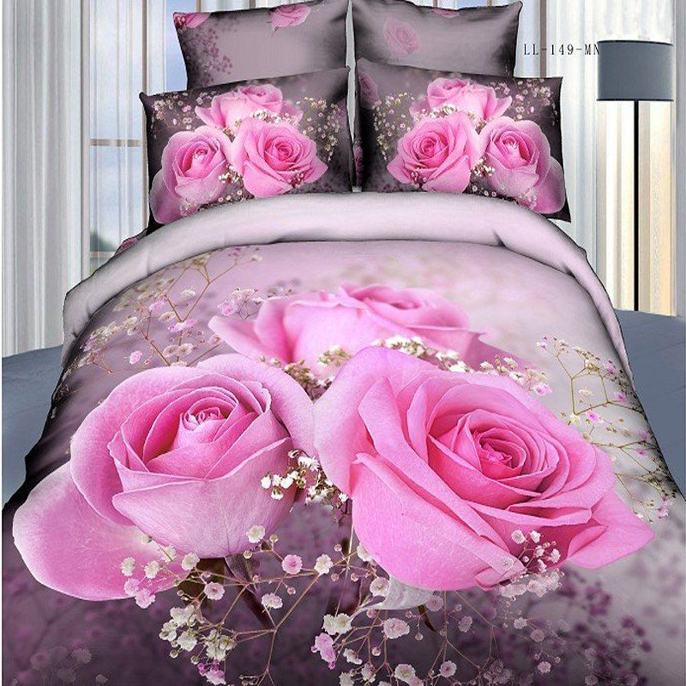 new arrival luxury blooming pink rose print 4 piece bedding sets