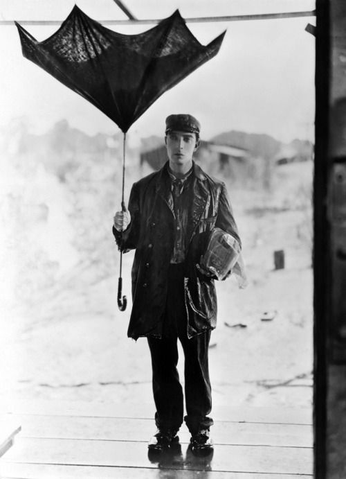 Buster Keaton; his trademark was his straight face. In fact, it was so much a part of his  picture personality, his  studio contract stipulated that he should not smile in public.