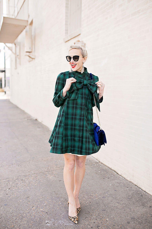 Green Plaid Tartan Bow Coat Dress Green Plaid Dress Dress Coat Outfit Bow Shirt Outfit [ 1500 x 1000 Pixel ]
