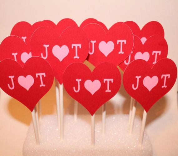 Custom Initials and Red Hearts Cupcake Toppers