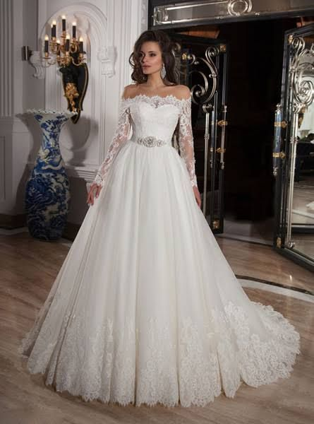 long sleeve off shoulder wedding gown - Google Search