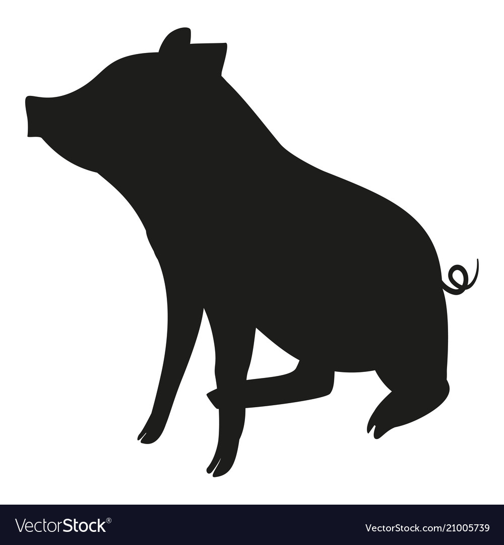 Black And White Sitting Pig Silhouette Vector Image On Vectorstock Pig Silhouette Silhouette Vector Black Pig