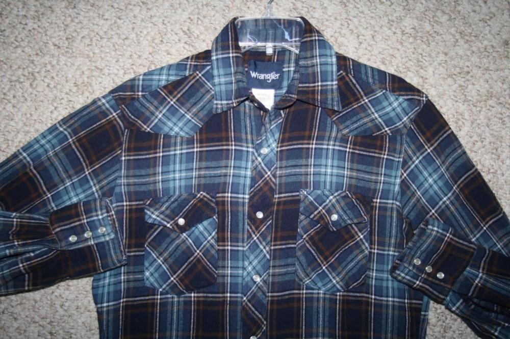 "Wrangler vintage shirt LS medium blue gray western dress pearl snap 21"" x 31"" #Wrangler #Western #Casual"