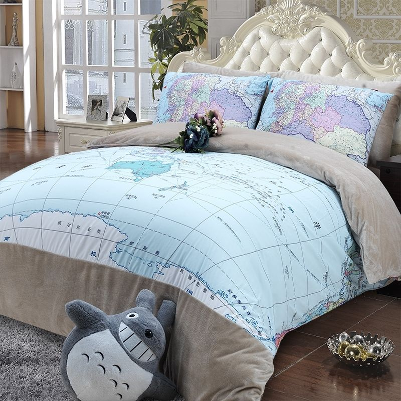 Light blue grey and white world map print monogrammed trendy vogue memorecool home textile creative world map pattern bedding set thick quilt cover set short plush velvet bed sheets autumn and winter bedding set full size gumiabroncs Images
