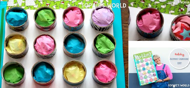 Don't throw away those T.P. Rolls or Duct Tape ends, they have a re-purpose just dying to happen, Advent Calendar!! Check out the amazing DIY my sister Freda made #sophie-world.com #recycledcraft #christmas
