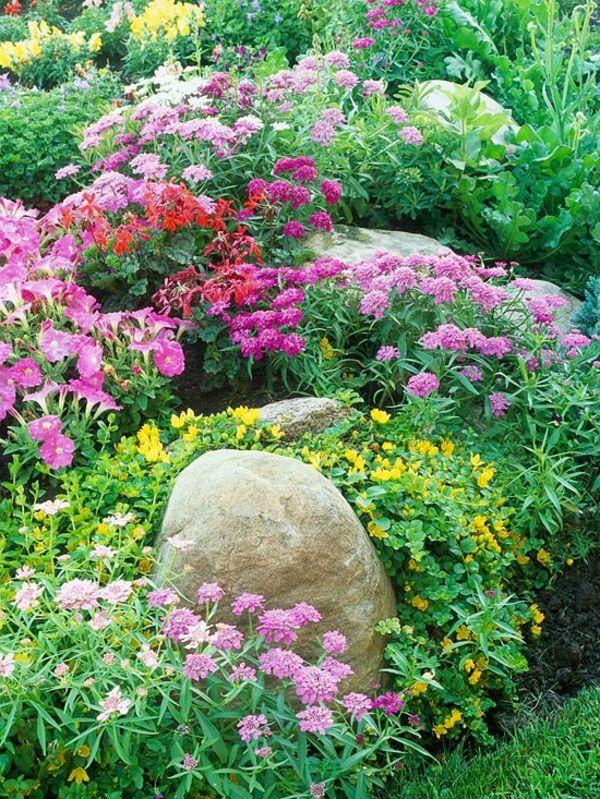 bunte blumen im wunderschönen steingarten - 53 erstaunliche bilder ... - Gartengestaltung Mit Steinen Und Blumen