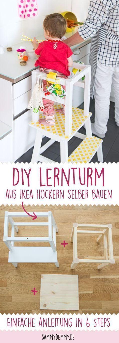 lernturm selber bauen ikea hack aus zwei hockern mit einfacher anleitung bastelstunde. Black Bedroom Furniture Sets. Home Design Ideas