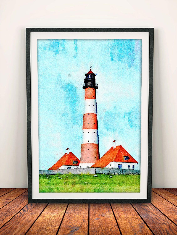 Lighthouse Painting, Marine Decor, Coastal Wall Art, Lighthouse Print, Lighthouse  Decor,
