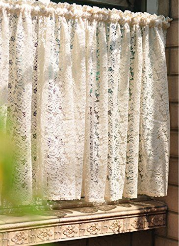 YOYA Rod Pocket Kitchen Tier Curtain Lace Cafe Curtain Windows Decoration