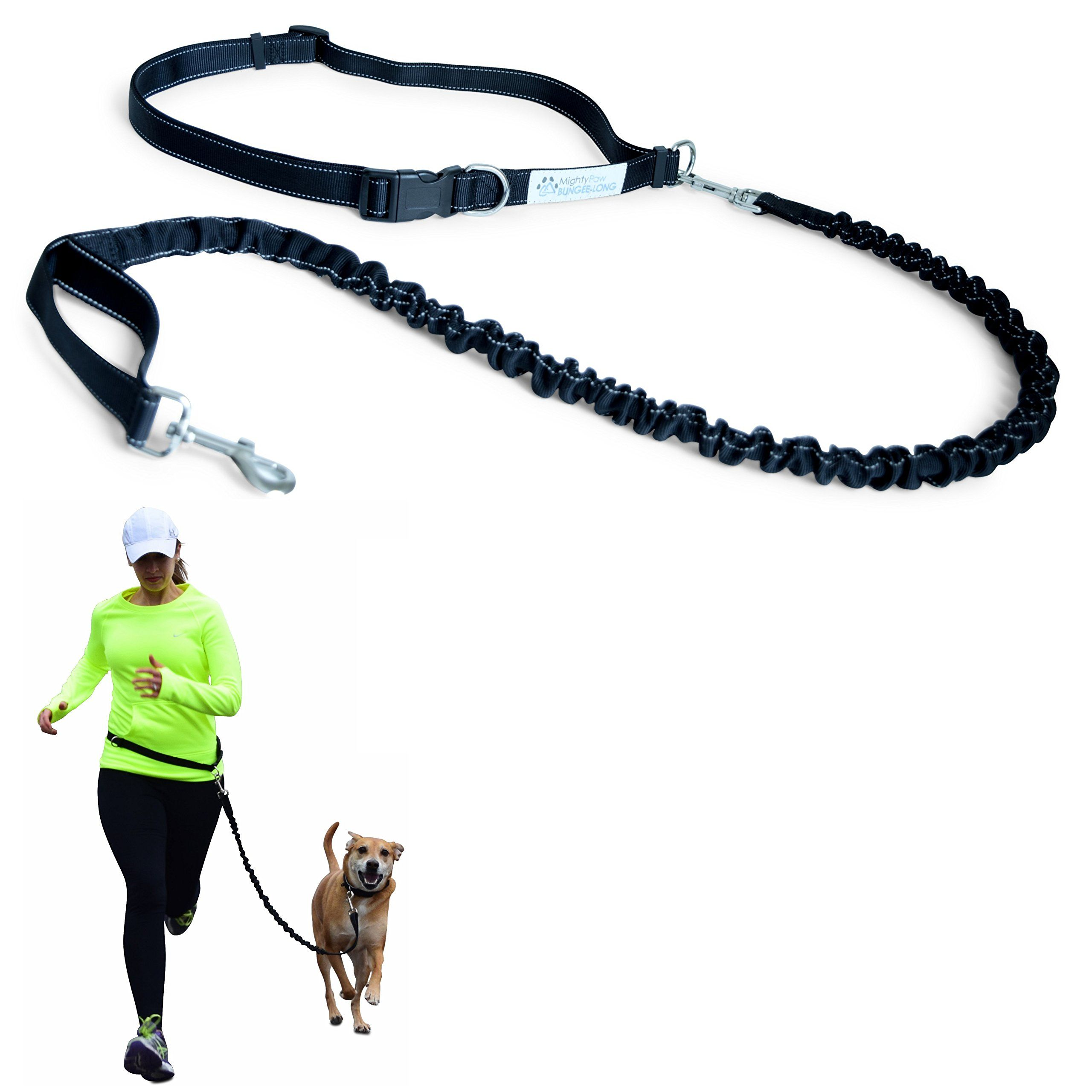 Mighty Paw Hands Free Dog Leash with Extra Length, Premium Running Dog Leash, Lightweight Reflective Bungee Dog Leash