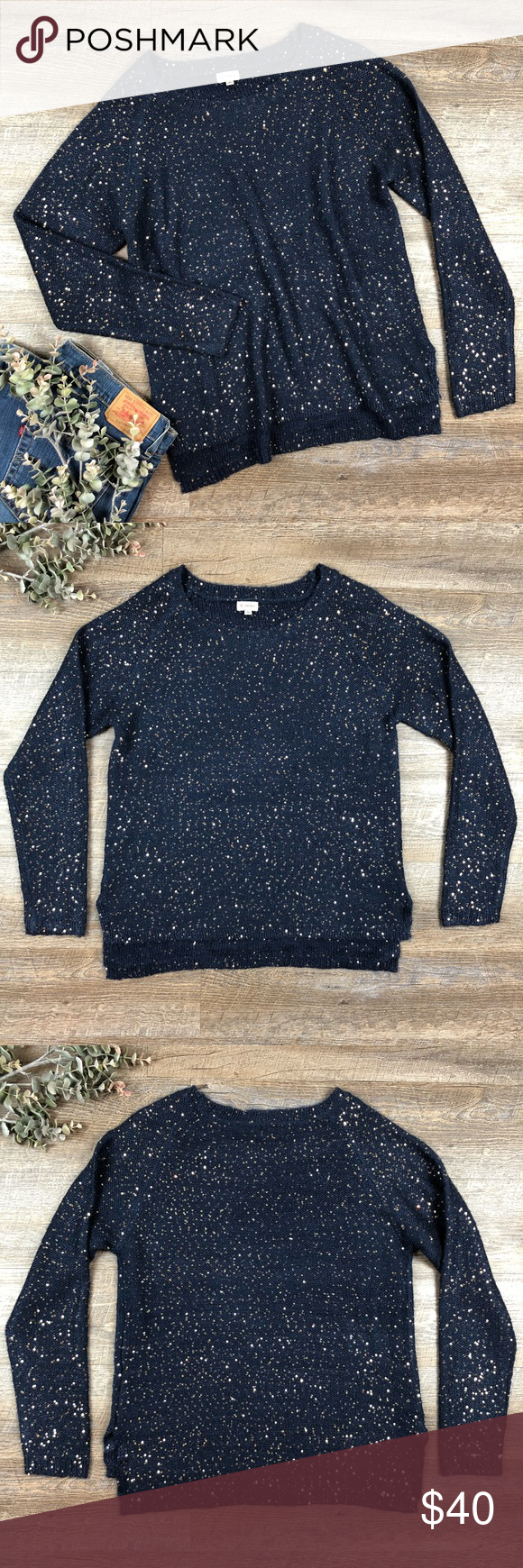 Navy Sequins Cremieux Sweater | Sequins, Navy blue and Navy