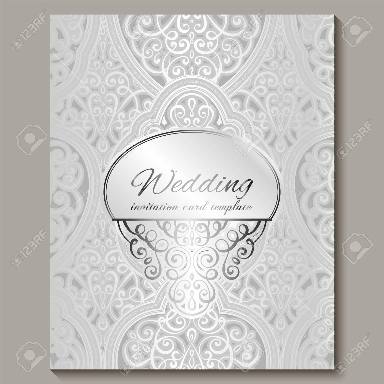 Wedding Invitation Card With Silver Shiny Eastern And Baroque Rich F Foil Stamped Wedding Invitations Wedding Invitation Cards Wedding Invitation Card Template